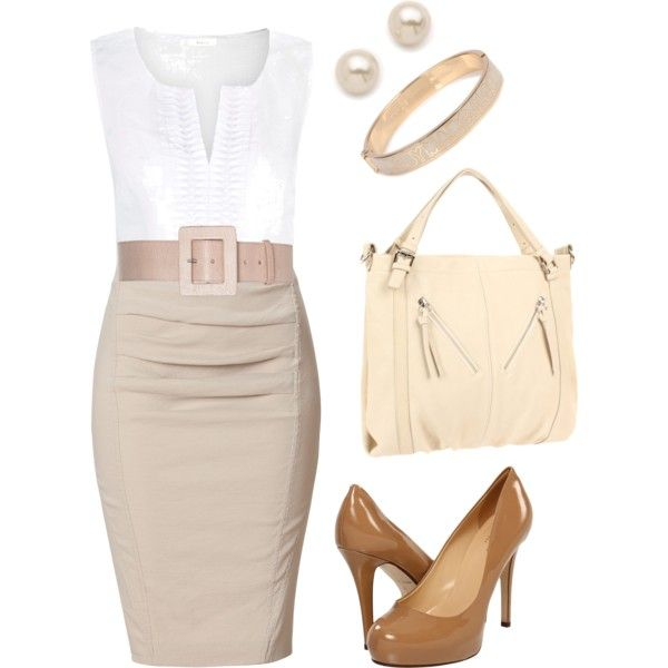 Khaki and White by jennifercapps on Polyvore featuring polyvore, fashion, style, Precis Petite, Donna Karan, Kate Spade, Pietro Alessandro, Marc by Marc Jacobs, Juliet & Company and Alice + Olivia