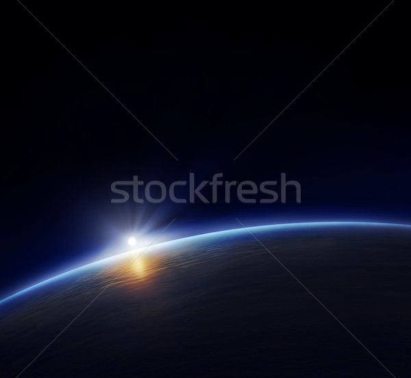 Planet earth with rising sun stock photo by Johan Swanepoel (JohanSwanepoel) - Stockfresh #716142