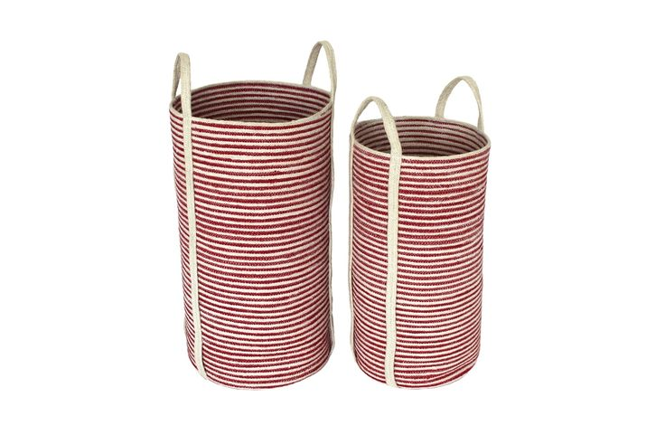 """S/2 Jute Tall Round Laundry Basket Long Handle - Red/Bleach White Mini Stripe (13.5x24""""/11x22"""")  Comes in Navy and Gray"""