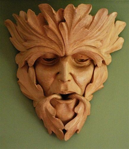 Green man by chris pye escultura t caras madera y