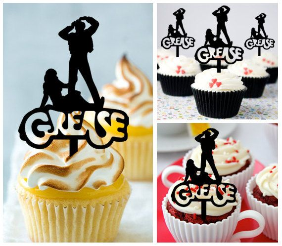 Mo004 New Arrival 10 pcs/Decorations Cupcake Topper/ Movies Grease Party Themes /Wedding/Props/Party/Food & drink/Fun/Birthday/Shop for you