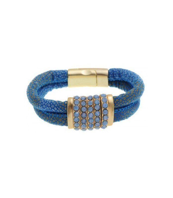 Armband in blauwe kleur met magneetsluiting en strass steentjes. De mooiste Armbanden koop je online Snelle levering Trendy en moderne Armbanden Blauwe armbanden... | EAN: 0000095890135 | Behave sieraden