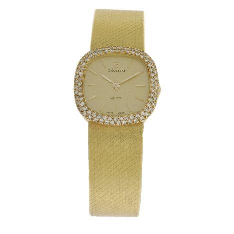 Women's 18K Yellow Gold & Diamond Corum Dress Watch