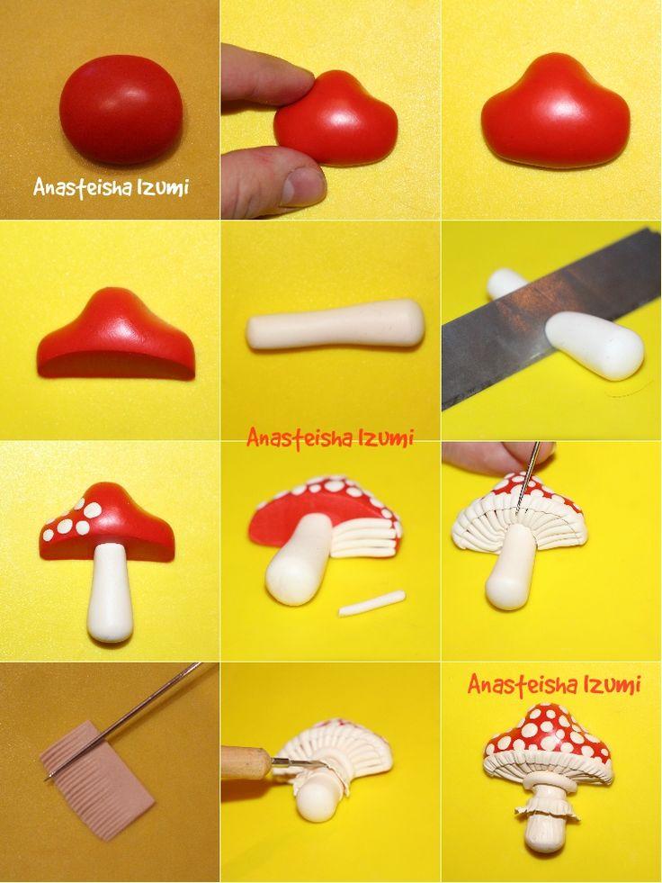 Мастер-класс по созданию мухомора. Mushroom polymer clay tutorial…