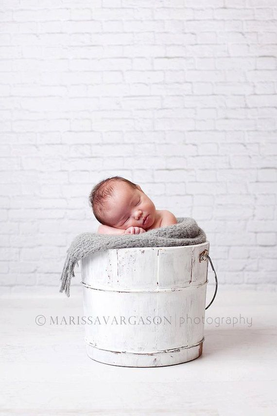 "Vinyl Photography Backdrop 5ft x 5ft, White Brick Wall Photo Backdrop, Newborn Prop, White Brick Background, Photo Prop, ""Great White"""