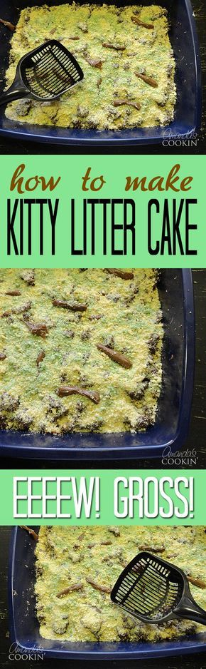 Kitty Litter Cake Recipe: Gross Halloween Party Food - the perfect recipe for Halloween!
