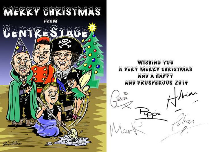 Cartoon Illustration Xmas Card by Cartoonist and caricaturist in London Simon Ellinas for Centre Stage Management coaching company