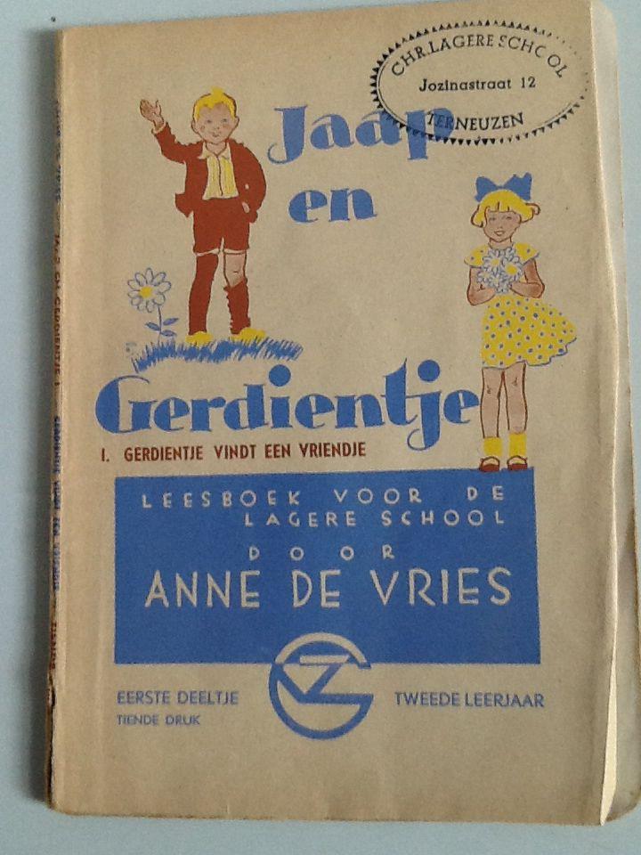 Jaap en Gerdientje. Deel I Gerdientje vindt een vrienje.                                      Leesboek voor de lagere school door Anne de Vries.