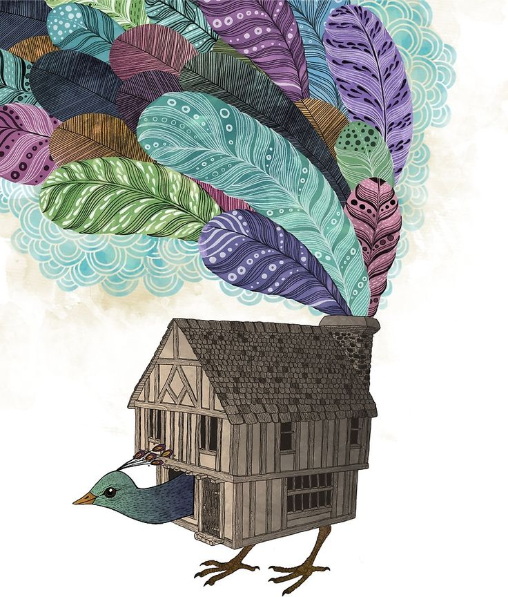 'Birdhouse Revisited' by Laura Graves. Read our interview with Laura and see a collection of her affordable art online at theartfolk.com