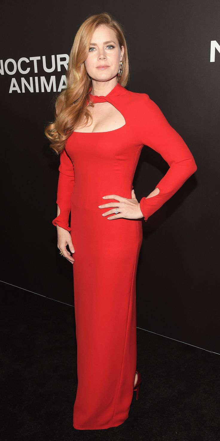 Look of the Day - Amy Adams: For the Nocturnal Animals premiere, she sizzled on the red carpet in a red-hot cut-out Tom Ford gown styled with red satin platforms and clutch, also by Tom Ford.