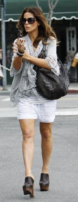 Who made Kate Beckinsale's brown clogs, gray cardigan, black sunglasses and black purse that she wore in Los Angeles on June 6, 2010? Shoes – Chanel  Sweater – Line Fatima Crochet Loop  Purse – Nancy Gonzalez  Sunglasses – Christian Dior