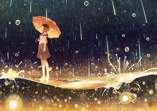 арт, зонт, дождь
