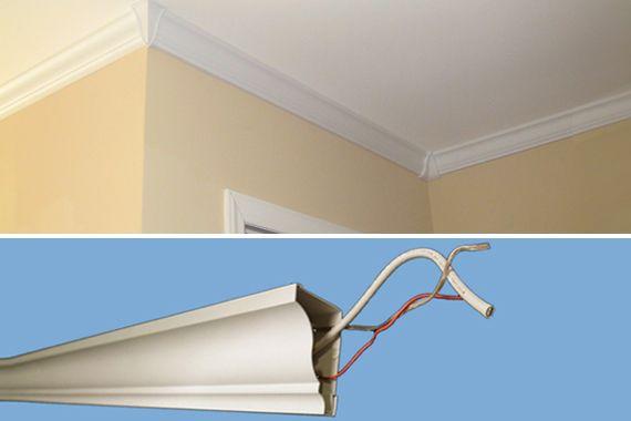 Hollow PVC Molding Hides Cables | Crown Molding