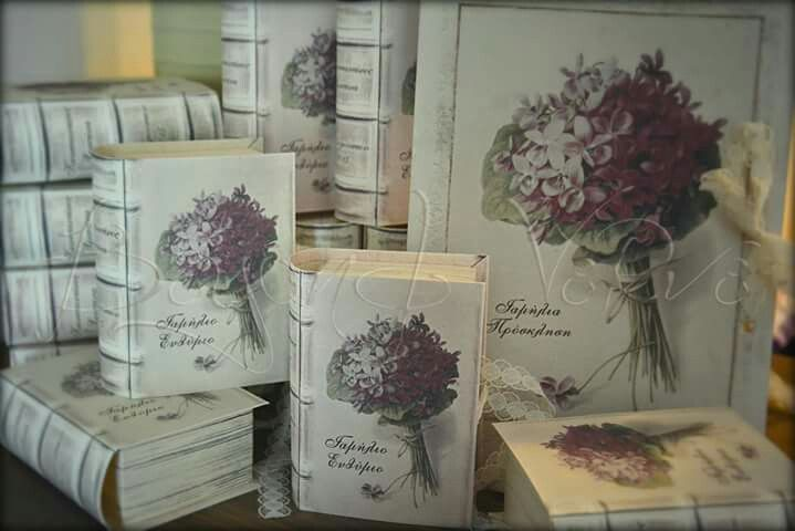 Romantic hydrangea wedding invitation with matching book favor box - Vintage wedding stationery - Beyond Verve