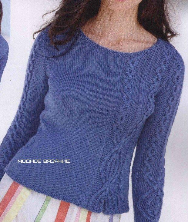 Пуловер связанный спицами с интересными косами | Ажурные Узоры