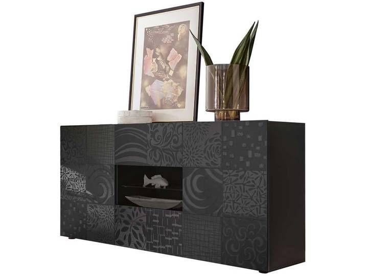 Wohnzimmer Schrank In Anthrazit Hochglanz Siebdruck Verziert