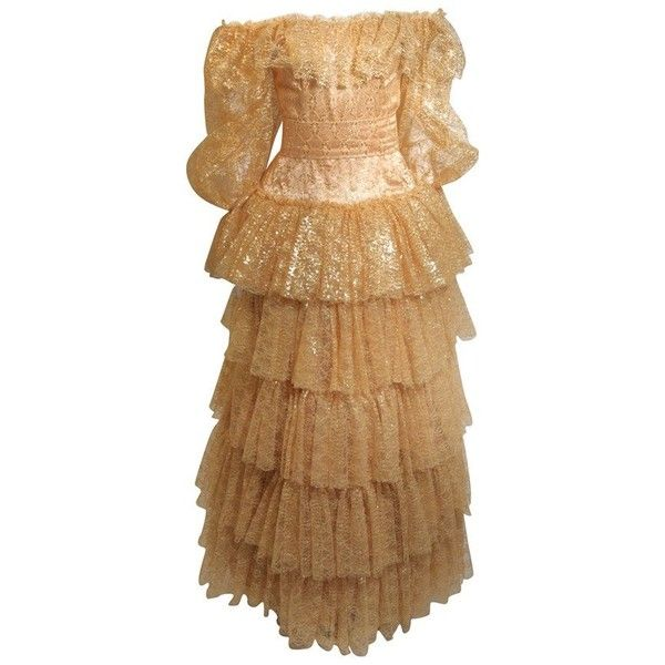 Preowned Attributed To Travilla Gold Tiered Lace Ball Gown With Sheer... ($3,895) ❤ liked on Polyvore featuring dresses, gowns, brown, evening gowns, lace dress, off shoulder gowns, gold evening dresses, gold dresses and sheer lace gown