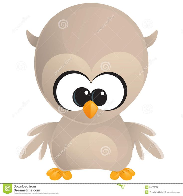 cartoon owls with big eyes | Cute cartoon baby brown owl with huge eyes standing and looking at us.