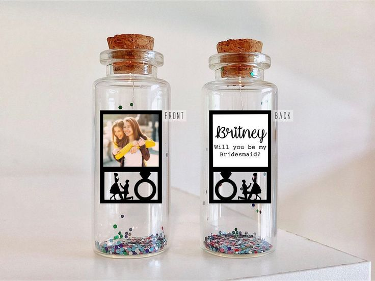 Bridesmaid gift personalized Bridesmaid card Photo Gift Will you be my Bridesmaid? Message in a Bottle Bridesmaid presents box Invite card