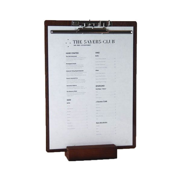 Our slotted timber block converts any clipboard to an easy to read Menu Display