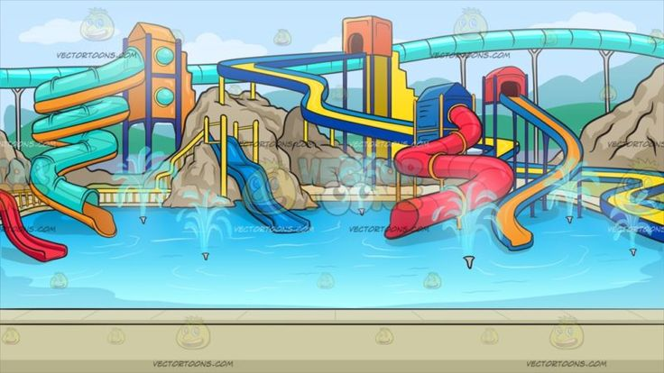 A Cool Water Park Background :  A water park with multicolored and multi curved slides leading to a huge swimming pool with sprinklers