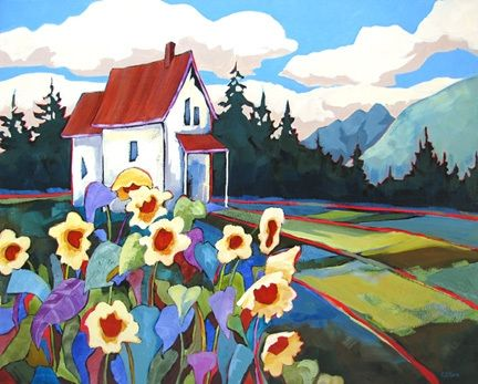 Country Home, contemporary landscape painting with house and sunflowers, painting by artist Carolee Clark