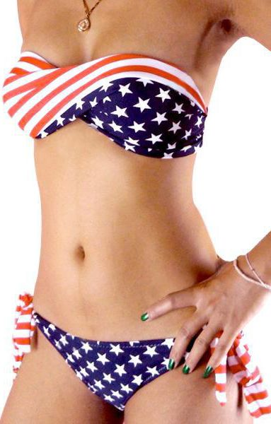 Red White and Blue Stars and Stripes Patriotic  Flag Pattern Printing Strapless Bandeau Bikini