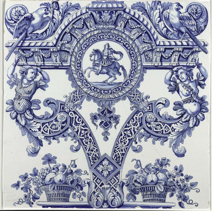 Two Delft plaques from a column, De Grieksche A pottery factory, Adrianus Kocx, c. 1690