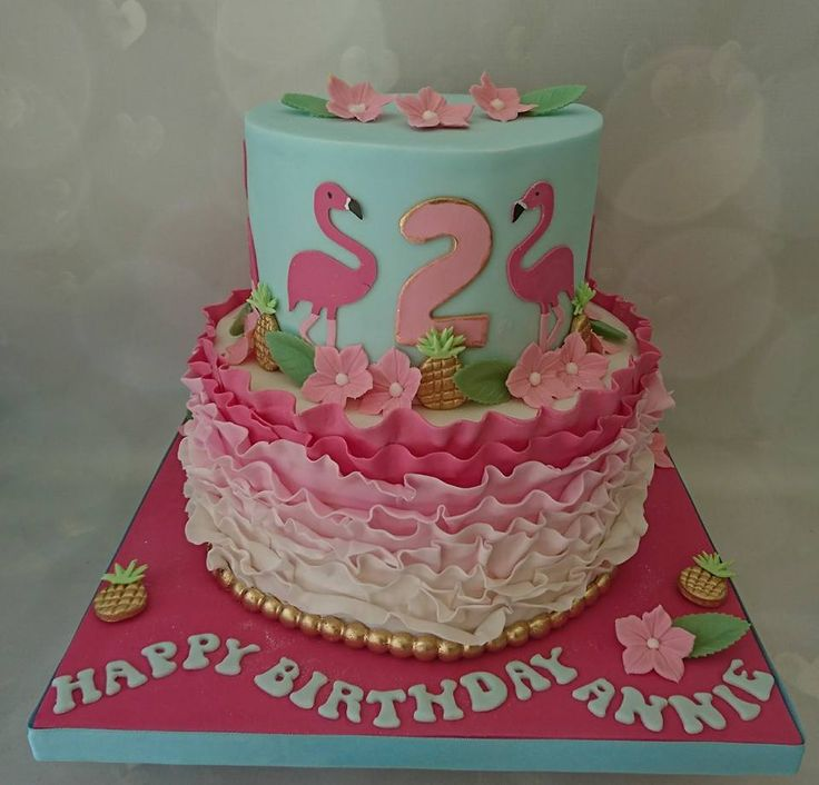 pink flamingo and gold pineapple cake for Annie 2nd birthday