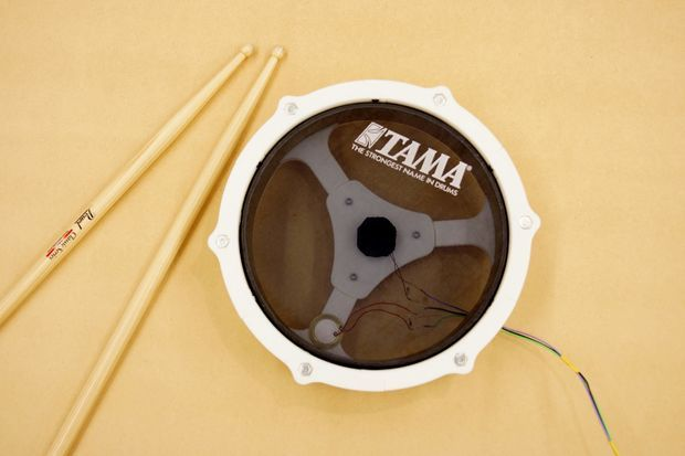 This is prototype of 8 inch pad for e-drum made from multiple parts.