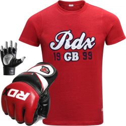 RDX Mens T Shirt with Leather MMA Gloves