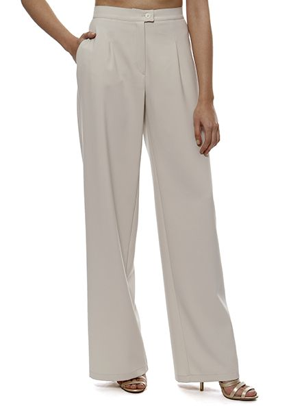 Crepe trousers in a wide line