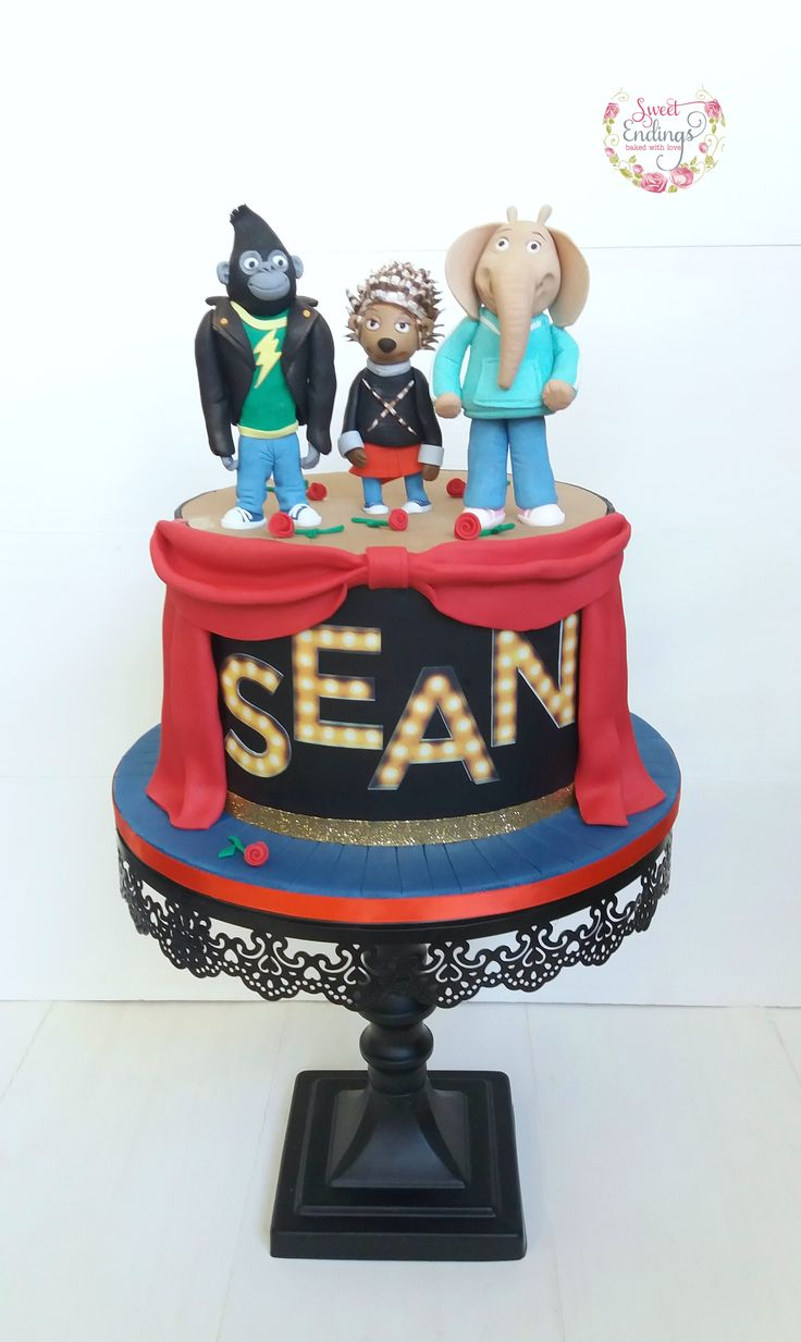 Jognny, Ash and Meena handmade from fondant. This Sing cake was so much fun to make.