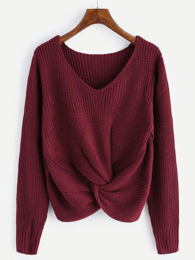 Shein V-neckline Twist Front Chunky Sweater  cd9cd53c2