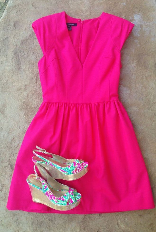 hot pink dress and printed shoes! ;)