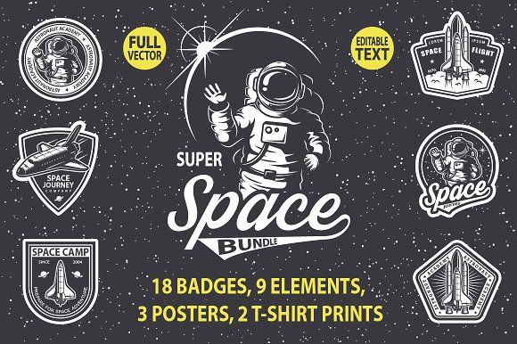 Super space bundle by VectorPot on @creativemarket https://crmrkt.com/WKrRkd