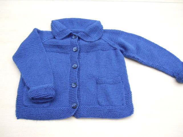 Hand knitted boys girls blue cardigan with pockets 2 - 3 years £14.00