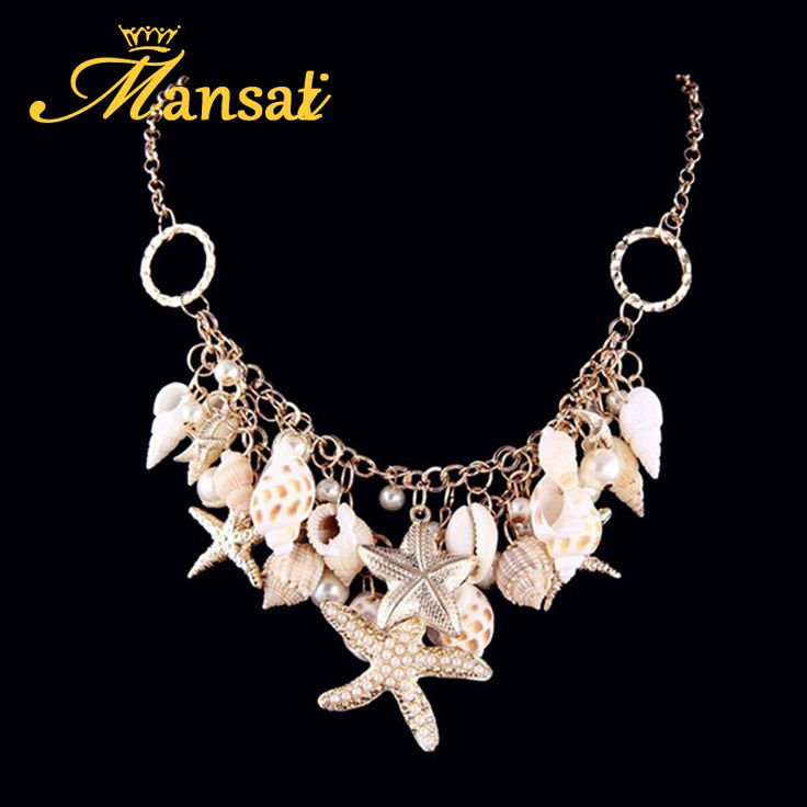 Aliexpress.com : Buy Summer Beach Vintage Jewelry Starfish Conch Snail Shell Necklaces Women Multi element Mixed Crystal Colar Feminine…