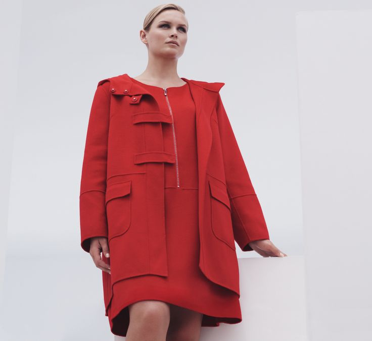 Hand-sewn double angora-wool and silk duffle coat with matching zipped shift dress.