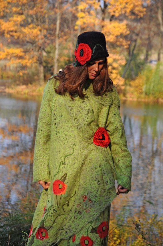 Poncho coat Poppy Field with textile brooch Poppy by Yaga on Etsy, $380.00