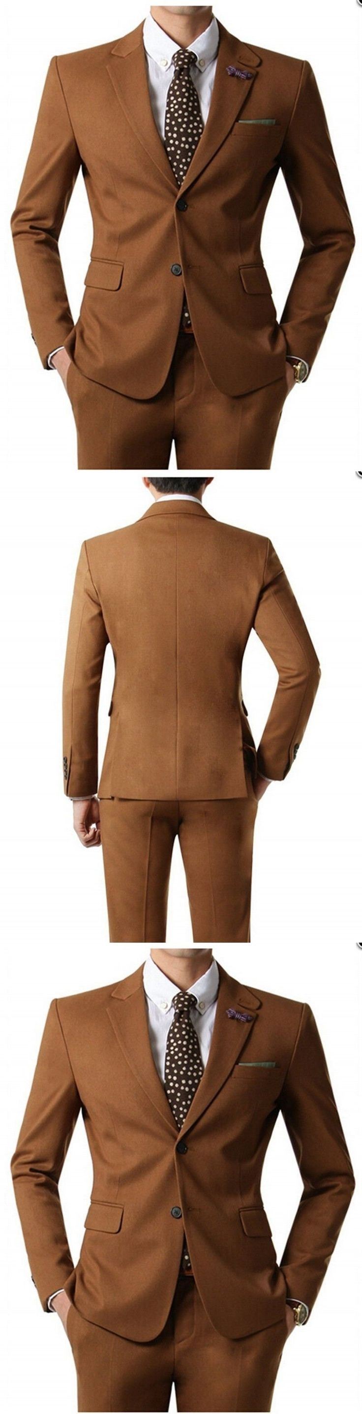 Slim Fit Groomsmen Notch Lapel Groom Tuxedos Brown Mens Suits Wedding Best Man #menweddingsuits #mensuits #mensfitness