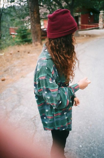 Grunge   Over-sized Green and Pink Plaid-Type Button-Up Shirt over Dark Pants.
