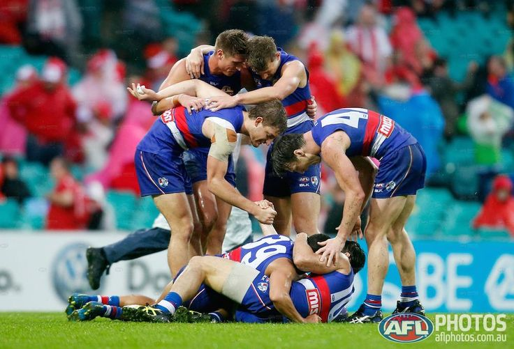Round 5 - The Dogs celebrate a four-point win over the Swans This WILL be us but on Saturday grand final