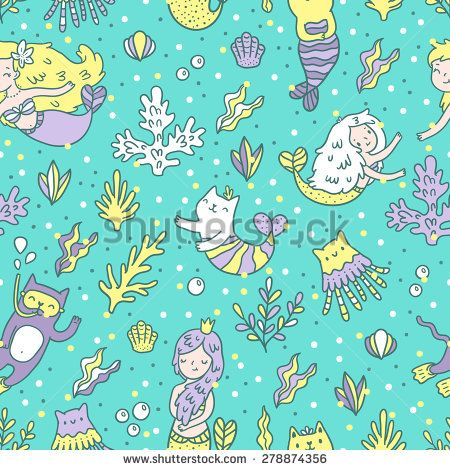 Seamless pattern with mermaids and cats. Tile vector background. - stock vector