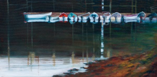 Eleven Boats, 10 x 20 in. Acrylic, Sold