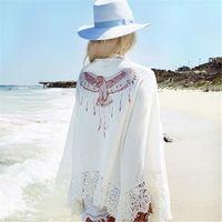 Женщины Блузка 2017 Мода Дамы Орел Печати Кружева Крючком Кимоно Кардиган С Длинным Рукавом Свободные Пиджаки Пляж Cover Up Blusas