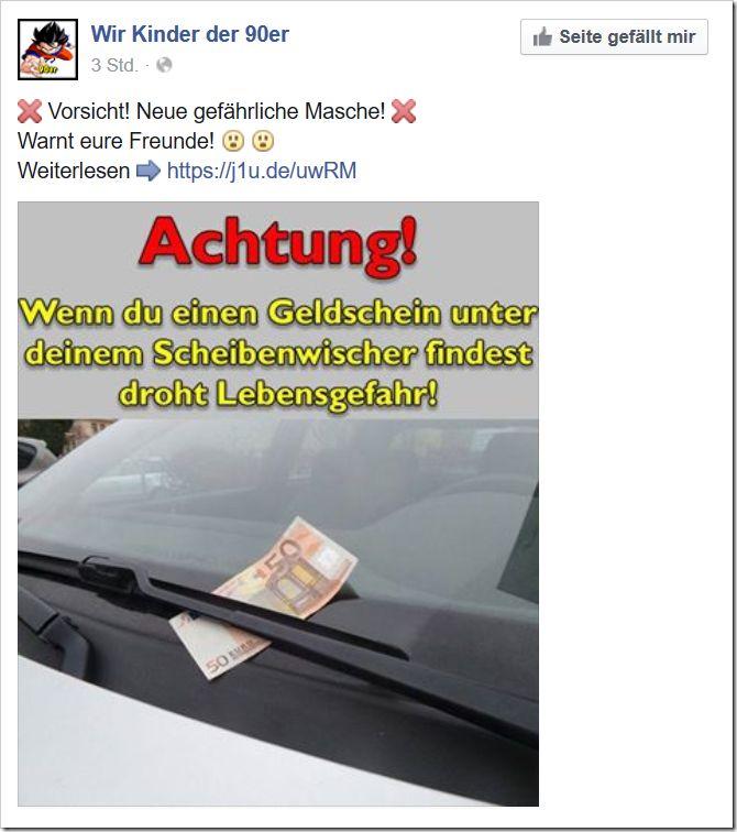 Der #Geldschein unter dem #Scheibenwischer!  http://www.mimikama.at/allgemein/der-geldschein-unter-dem-scheibenwischer/
