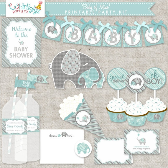 Printable Baby  Boy Shower  Printable Kit  by whirligigspartyco, $25.00
