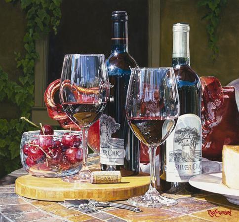 Napa Alfresco by Eric Christensen  'Hper realistic watercolor wine art painting'