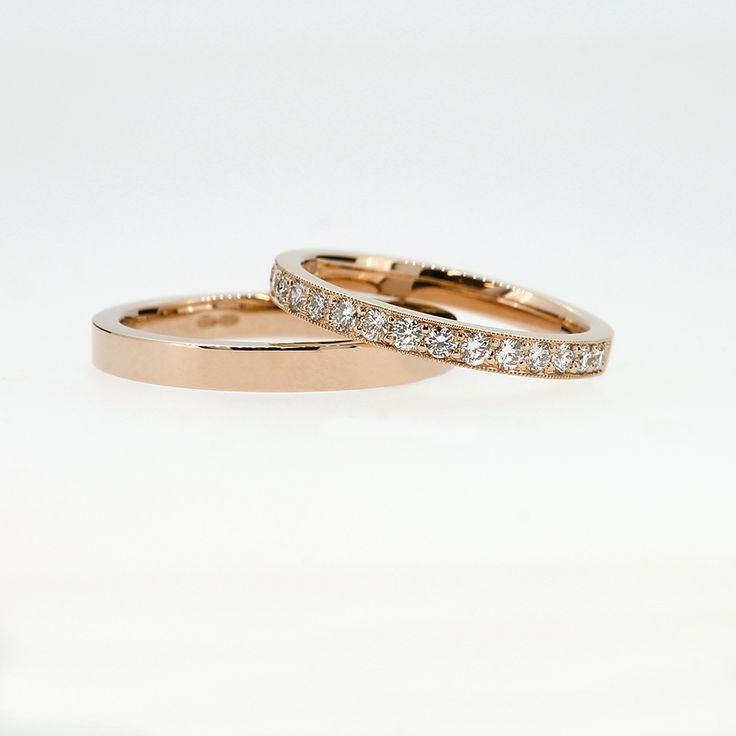 Wedding Band Set with Diamond Half Eternity Ring in Rose Gold